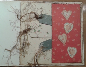 Kerstkaart binnenkant met tags en Freshprint papier