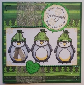 kerstkaart Urban stamps penguin Action papier