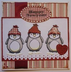 kerstkaart Urban stamps penguin en Maja Design