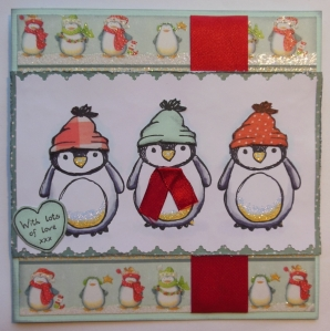 kerstkaart Urban stamps penguin en First Edition