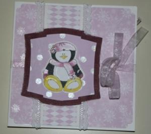 Roze met wit pinguin kaart voorkant