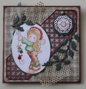 Tilda met kerstballen kaart