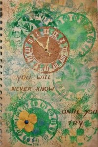 Art Journal Foam stamps & stencil technique
