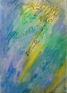 kliederen met aquarelkrijtjes