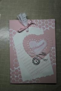 Roze verjaardagskaart met hartje 003
