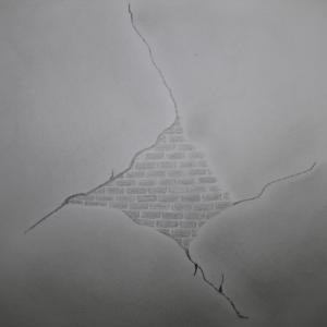 schets beschadigd pleisterwerk