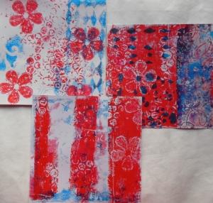 Gelli plate prints met stencil bubble wrap en stempel