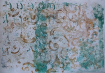 gelli plate layers blue and browns