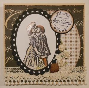 scrap kaart huwelijk met Basic Grey en Katzelkraft