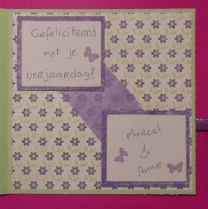 verjaardags scrap kaart met Memorybox binnenkant