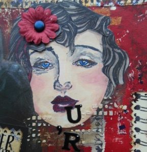Art Journal detail with gelli plate background and creative expression stamps top right