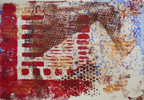 gelli plate print with home made foam stamps and TCW stencils red brown blue gold