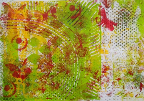gelli plate print with home made foam stamps and TCW stencils