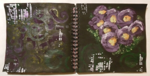 art journal swirls & vingerpainted flowers