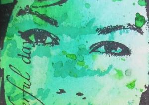 Boekenlegger met Art Journey en Dylusions detail ogen
