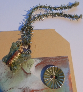 Creative Chemistry 102 Day 4 Alcohol ink tinted tinsel and faux patina