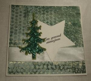 2013-12-17 kerstkaart met gelliplate print en glitter boompje