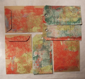 gelli plate printing with household items backside envelops and tags