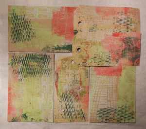 gelli plate printing with household items frontside envelops and tags