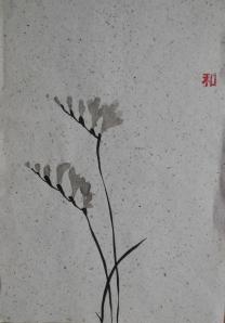 Penseelschildering fresia op handgeschept papier