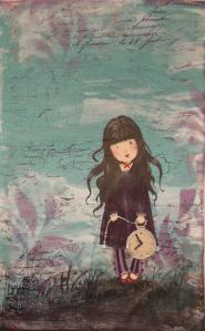 2014-03-23 Art Journal page met crackle en Gorjuss