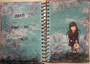 2014-03-23 Art Journal page spread met crackle en Gorjuss