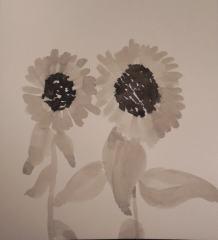 inktschildering zonnebloemen