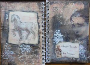 2014-04-13 Art Journal page met Stampendous en Katzelkraft