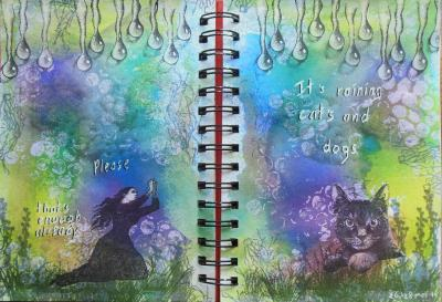 2014-05-28 art journal page Raining