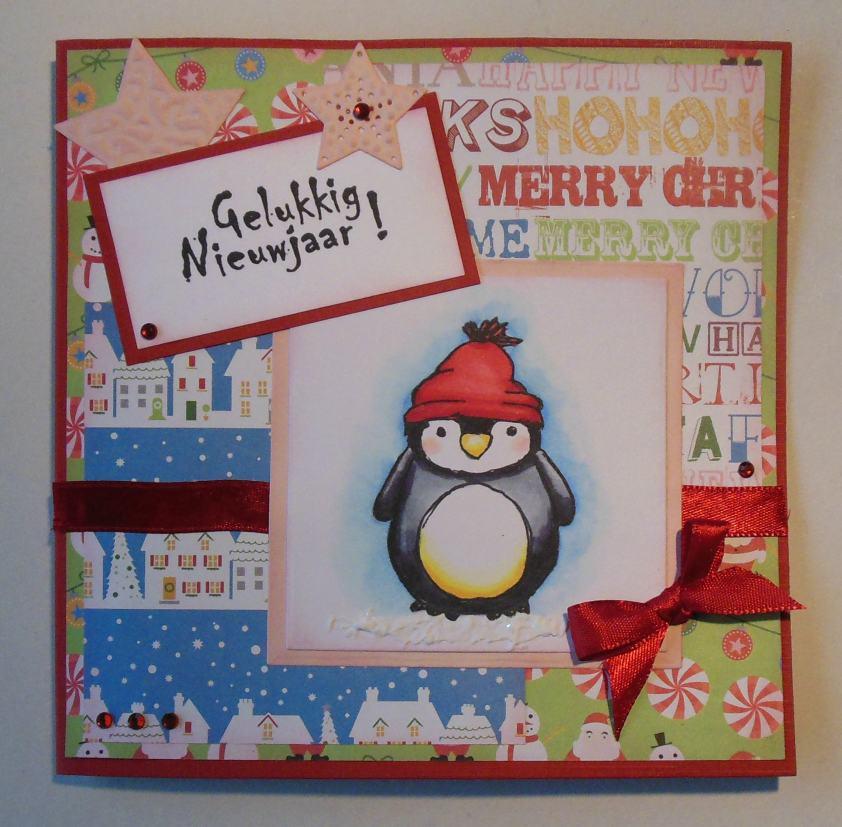 Kerstkaarten met vrolijke pinguins stempelwolven for Gekleurd papier action
