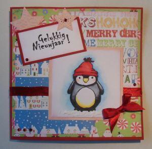 2014-12-20 kerstkaar met action papier en pinguin