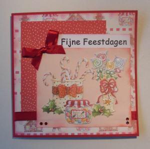 2014-12-20 kerstkaart met first edition papier in roze en rood