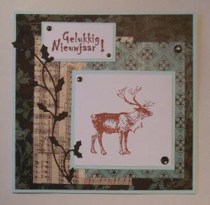 2014-12-22 Kerstkaart met Elines papier en hert