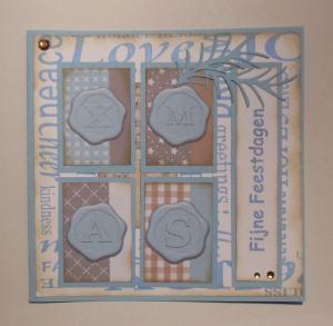 2014-12-23 Kerstkaart met papiersetje Jacobi en Stacy Stamps