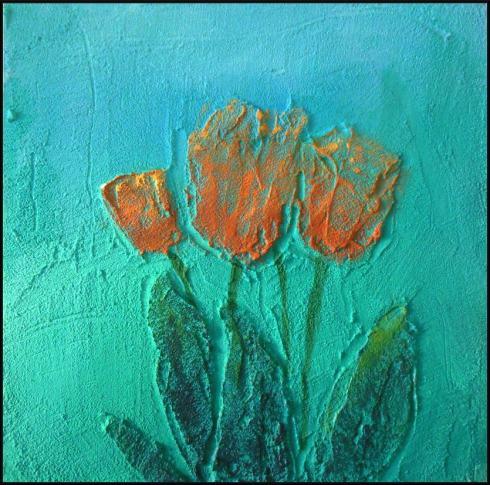 Tulpen in structuur met paletmes en lichte overschildering