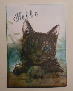 ATC Hello with bister and Art Journey cat