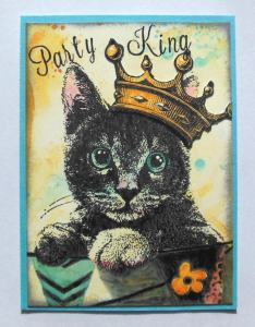ATC Party King with distress inks and Art Journey cat