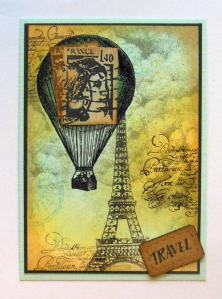 ATC Travel with distress ink Art Journey Hero Arts Stampscapes Katzelkraft and Viva Decor