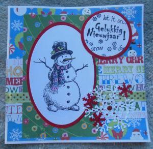 Kerstkaart met Nellie Snellen sneeuwpop