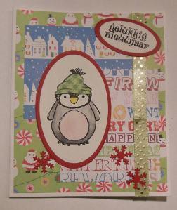 Kerstkaart met Urban stamps pinguin 3