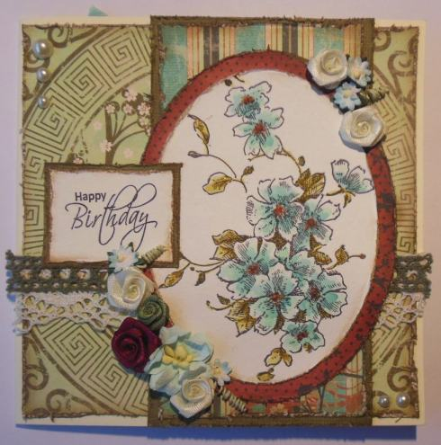 2016-01-08 Verjaardags scrap kaart met Bo Bunny en Stampendous voorkant2
