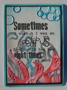 ATC Octopus met distress inkt en Joy