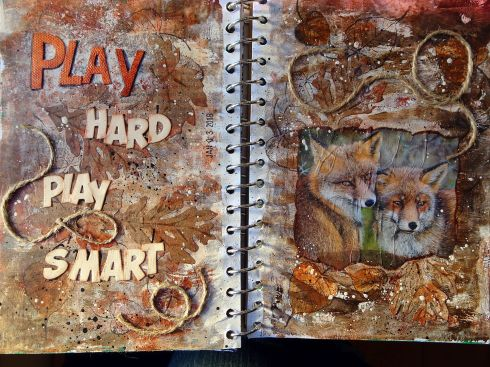 2018-01-07 Art Journal page Play Hard