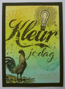 2018-04-18 ATC met distress inkt en stempels van Tim Holtz en Art Specially