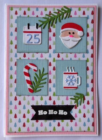 kerst scrapkaart action papier en 4 tim holtz mini stanzen
