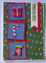 kerst scrapkaart action papier tim holtz mini stanzen en Crafters Companion sentiment