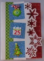 kerst scrapkaart action papier tim holtz mini stanzen en snowflake border
