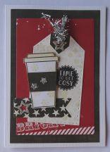 kerst scrapkaart Heide Swapp papier gummiapan koffiebeker