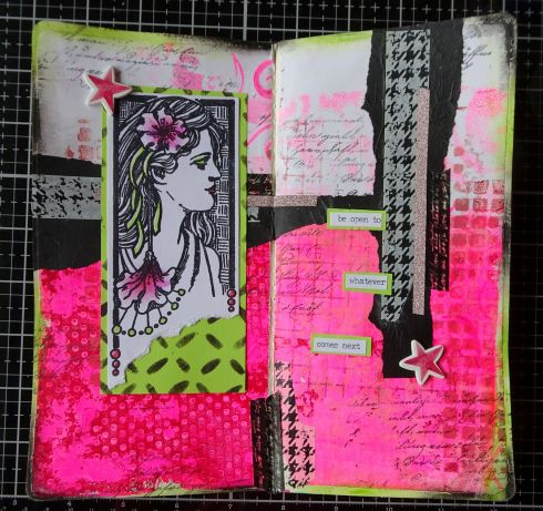 2020-02-01 Art Journal page with gelliprint - washi tape - distress crayons